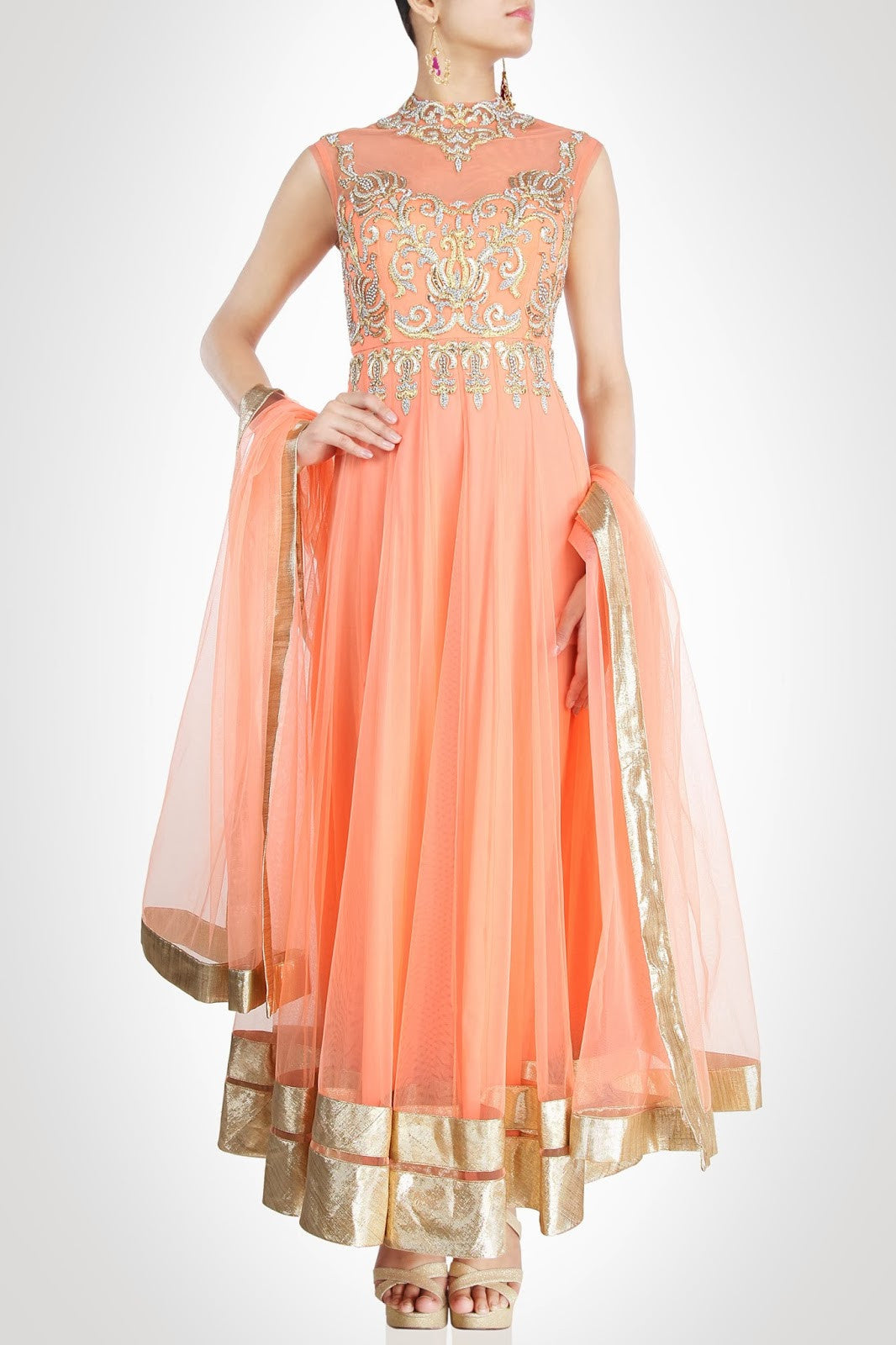 Peach color long anarkali suit
