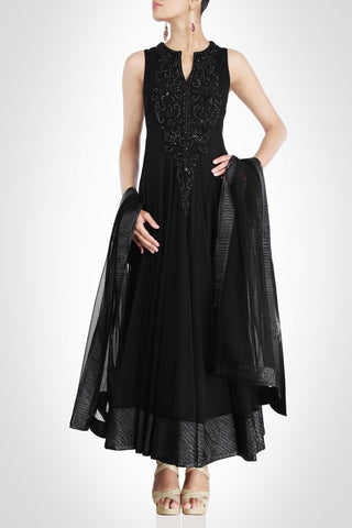 Black color long anarkali suit