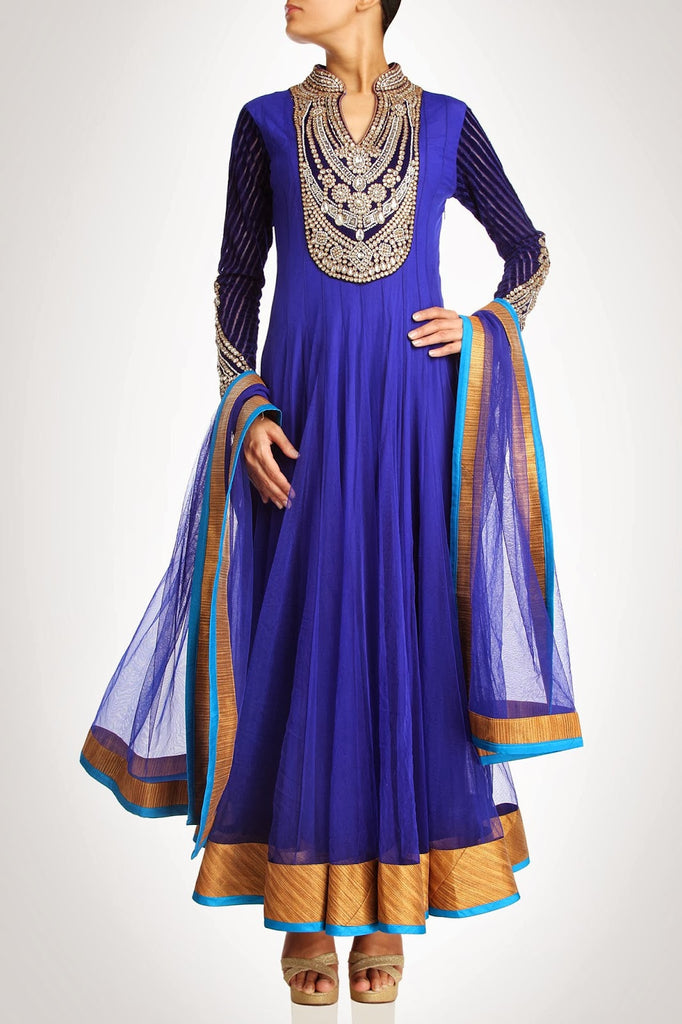 Royal blue color long anarkali suit