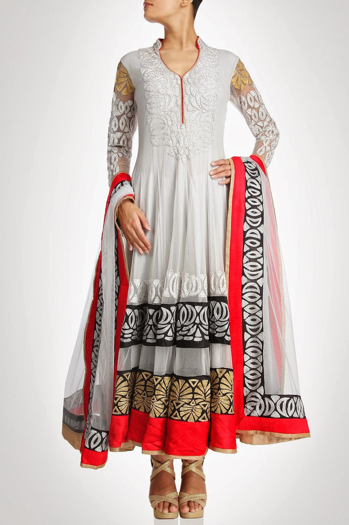 White color long anarkali suit