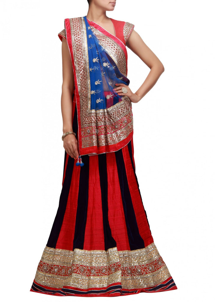 Party wear Lehenga choli in Red and Black color