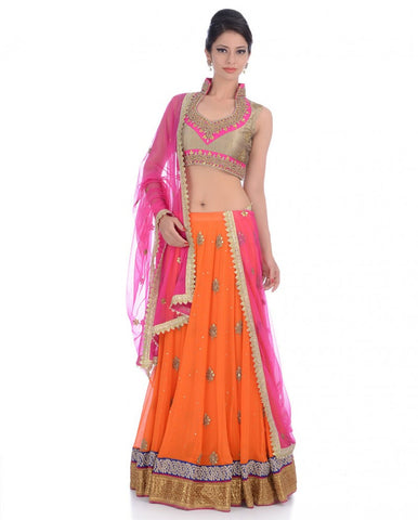 Party wear lehenga choli in orange color