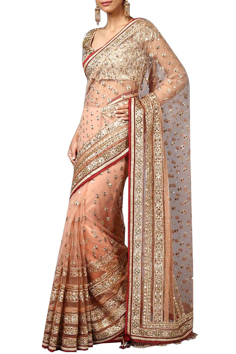 Peach Colour Wedding Saree with Gotta Work
