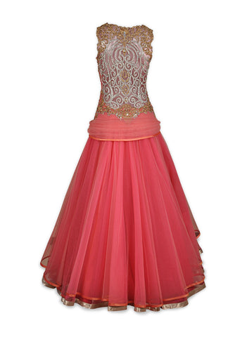 Peach and Pink Indo Western Gown