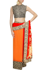 Peach Red Designer Saree