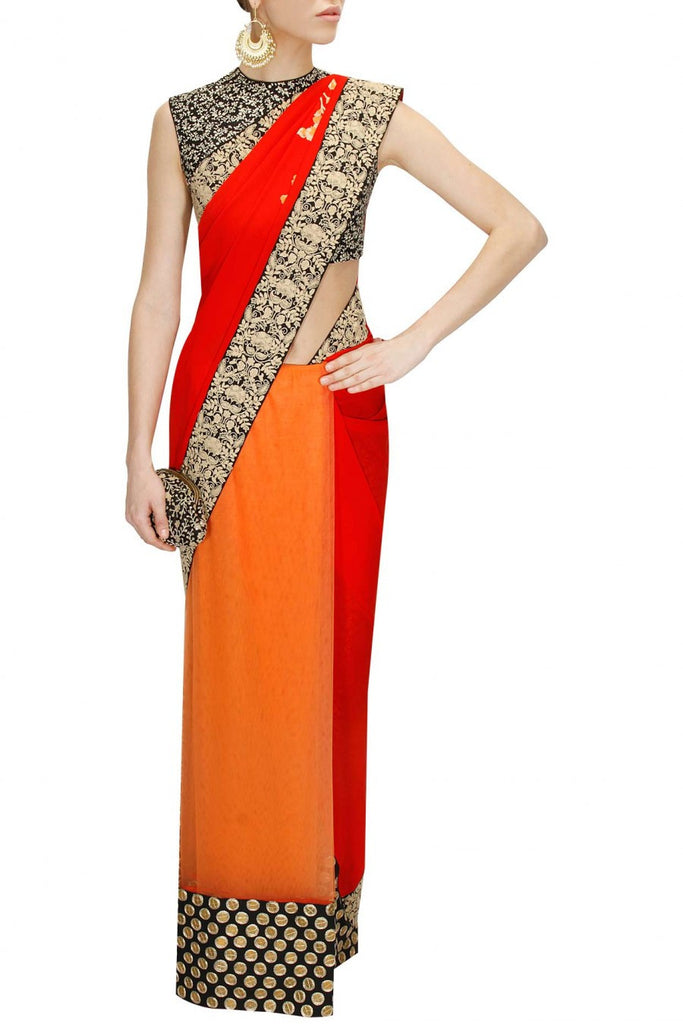Peach Red Sabyasachi Saree