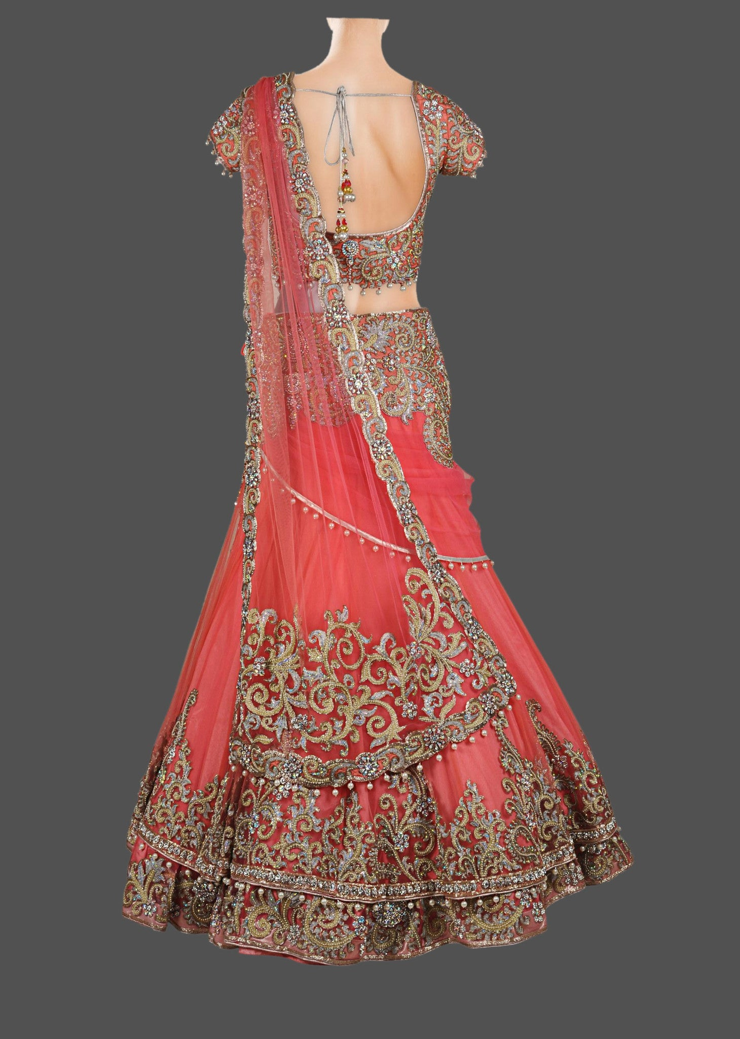 Peach and coral lehenga choli