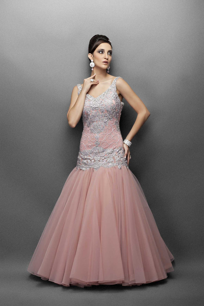 Peach Gown with Silver Work in Long Fitted Bodice