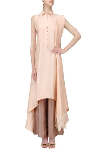 Peach Color Designer Plazzo Suit