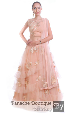 Peach Color Layered Lehenga Choli