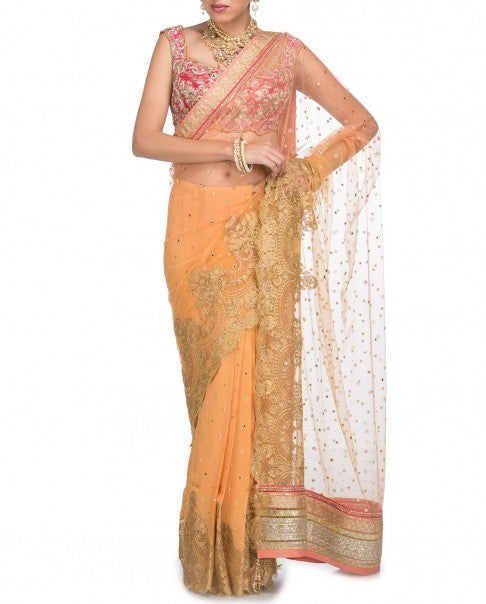 Peach Saree Replica from Tarun Tahiliani Collection
