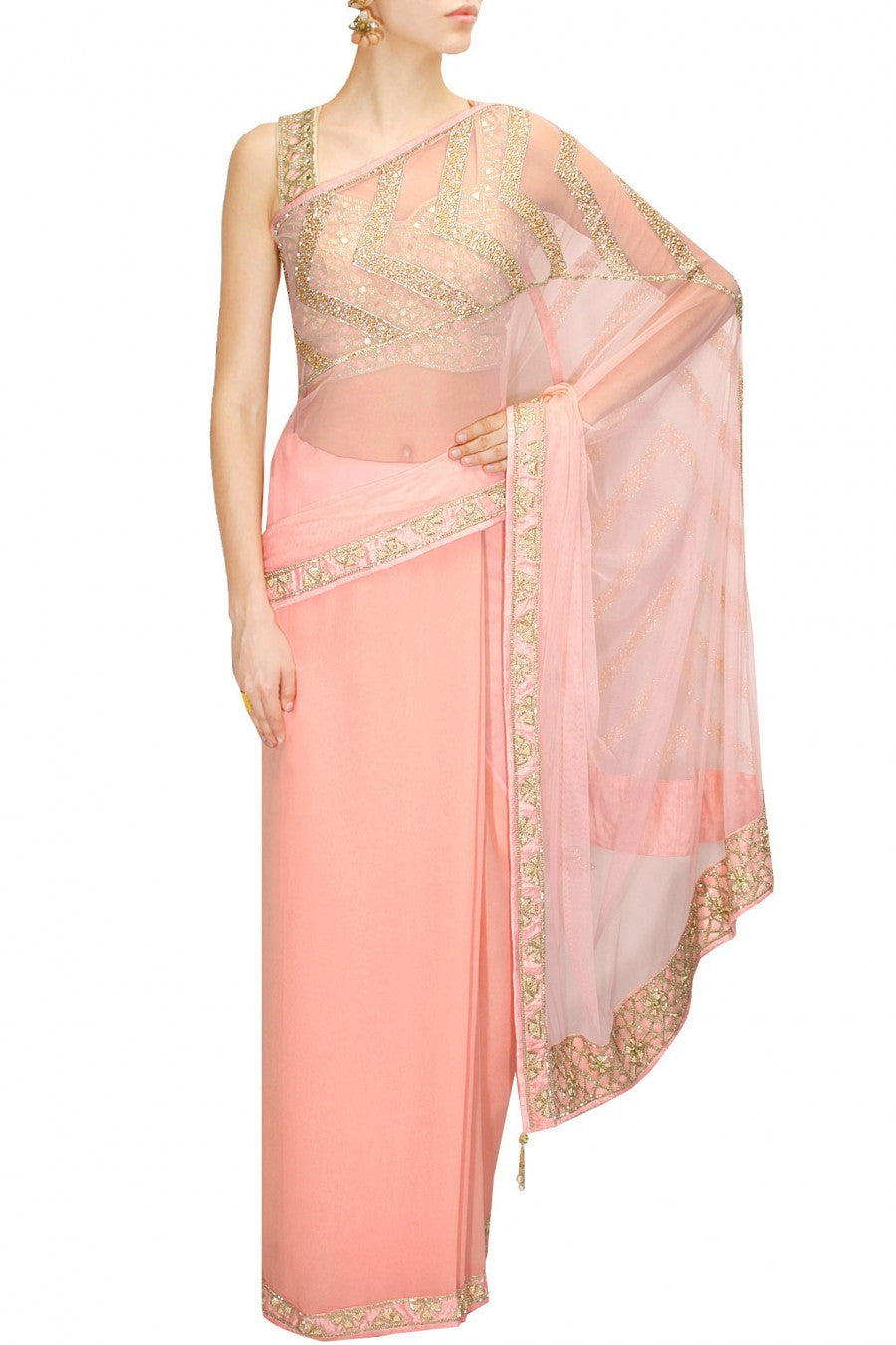 Peach designer sari with cut work blouse