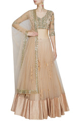 Peach lehenga with gold embroidery blouse