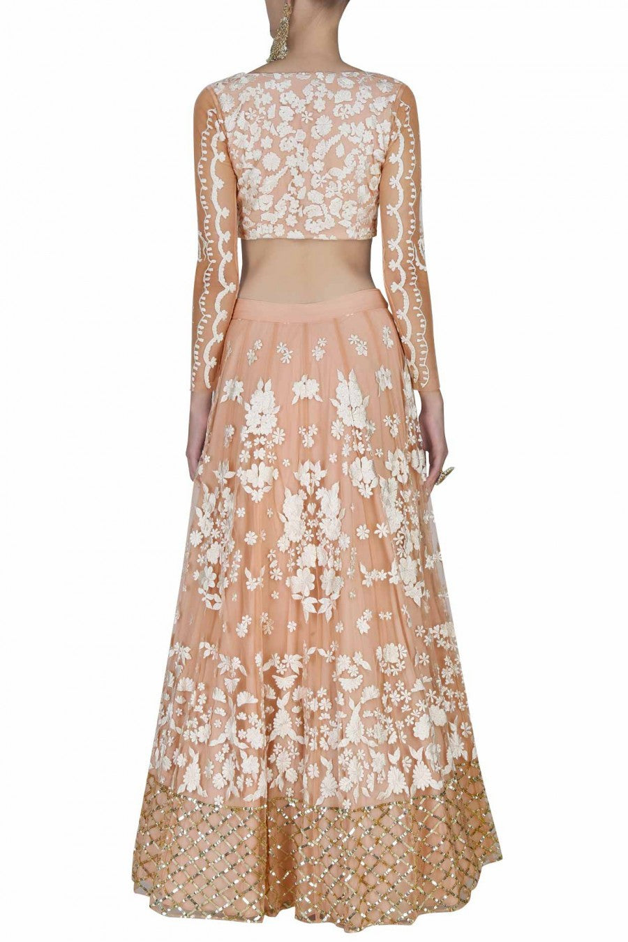 Peach lehenga with offwhite embroidery