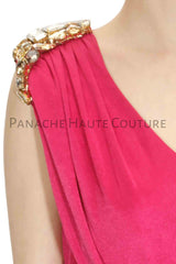 Pink Color Designer Saree Gown in Velvet