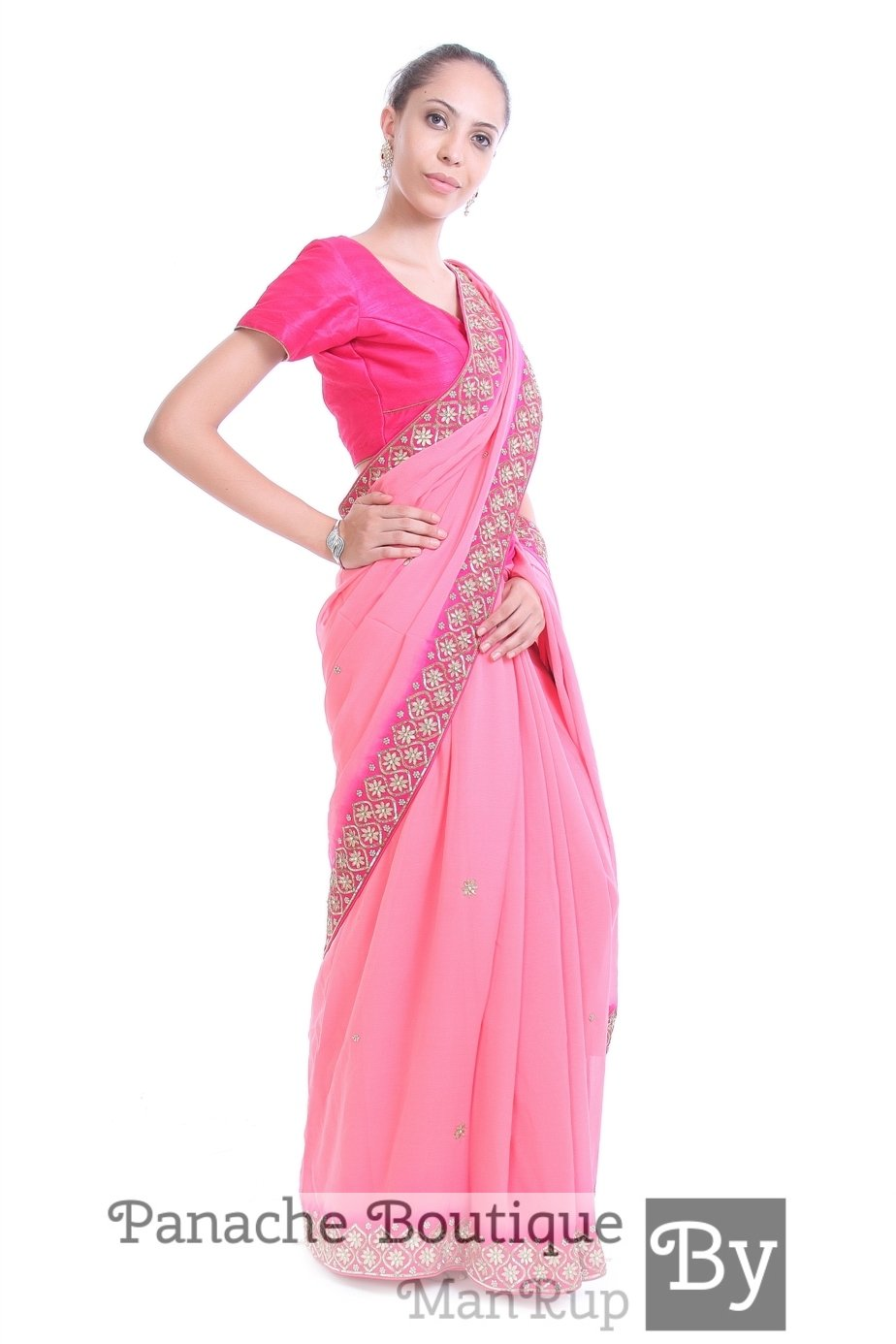 Pink Colour Crepe Silk Saree with Gotta Patti Embroidery