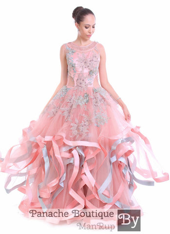 Pink Colour Multi-layered Gown
