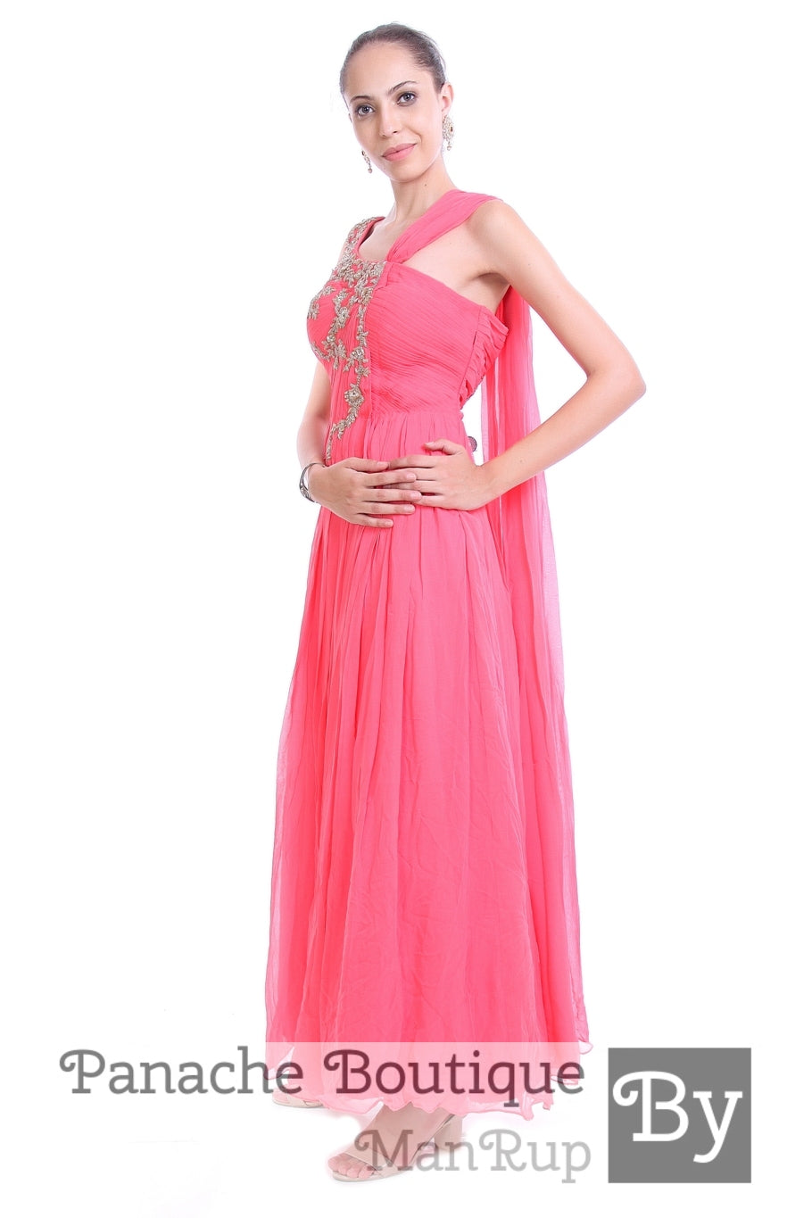 Pink Colour Saree Gown with Zardozi Embroidery