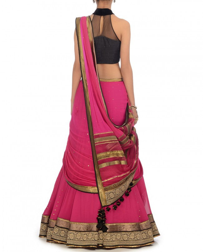 Pink and black party wear chaniya choli