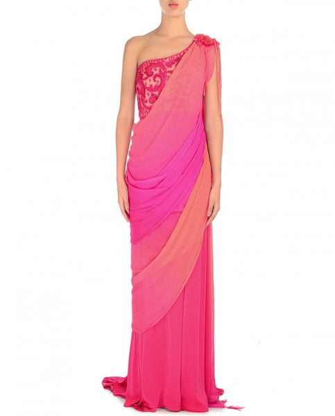 Panache Wedding Gowns: Pink And Peach Saree Gown