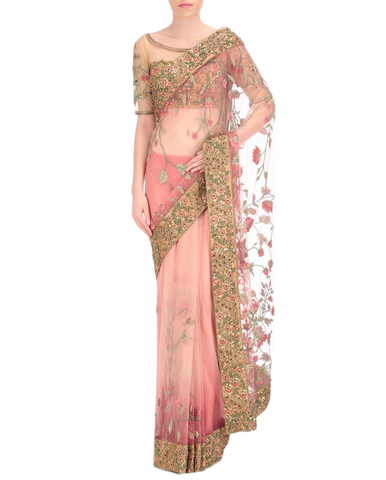 Peach color designer saree in thread embroidery