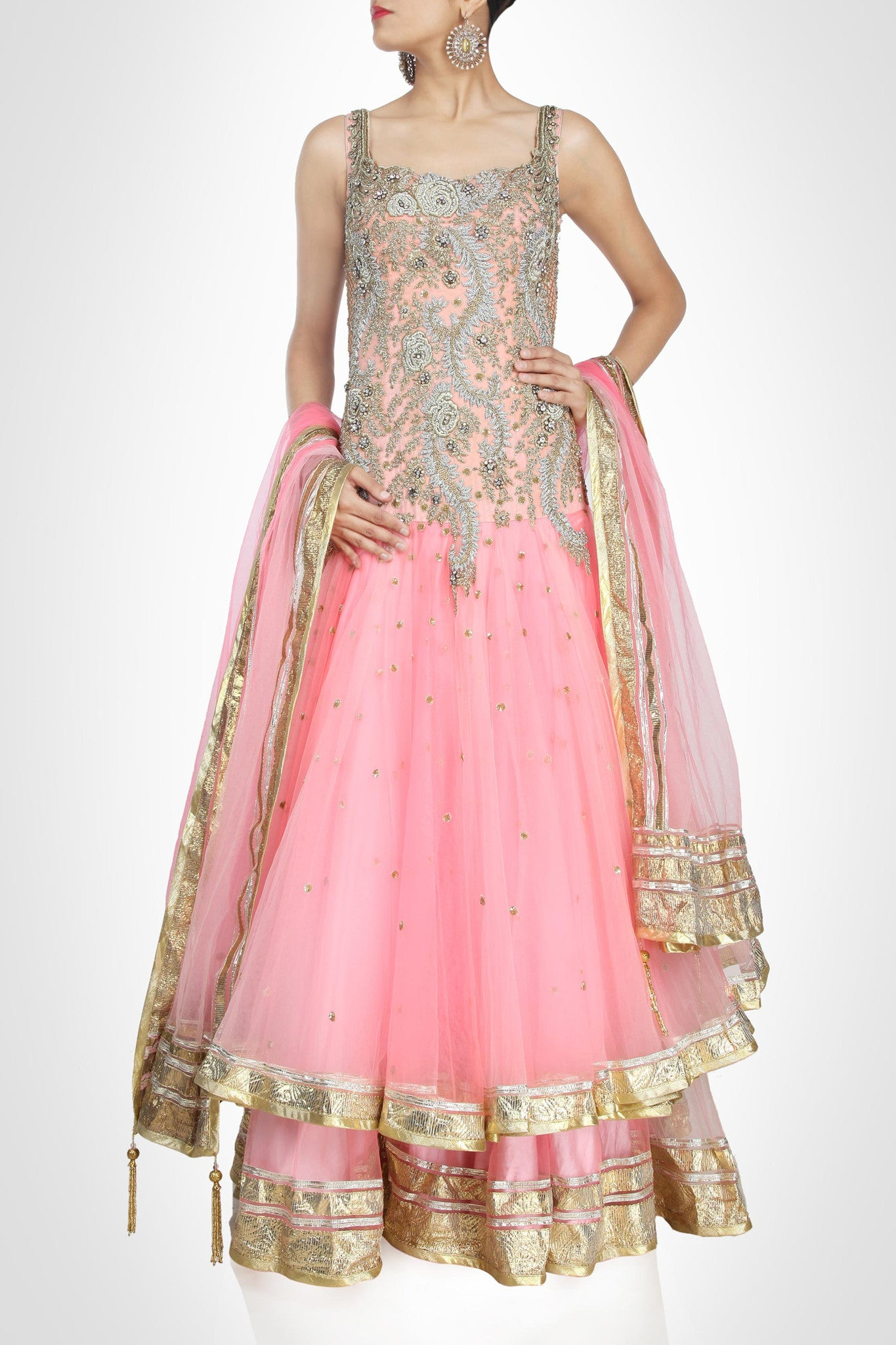 Pink color ananrkali suit type lehenga