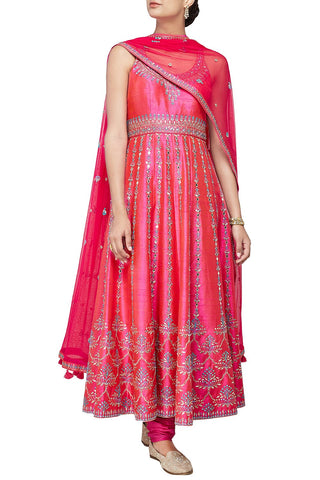 Pink Colour Anarkali in Dupion Silk