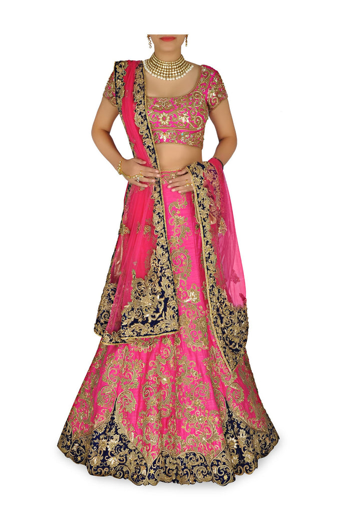 Rani Pink color Bridal lehenga choli