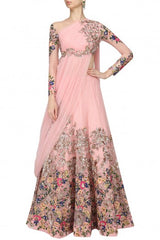 Pink color draped lehenga
