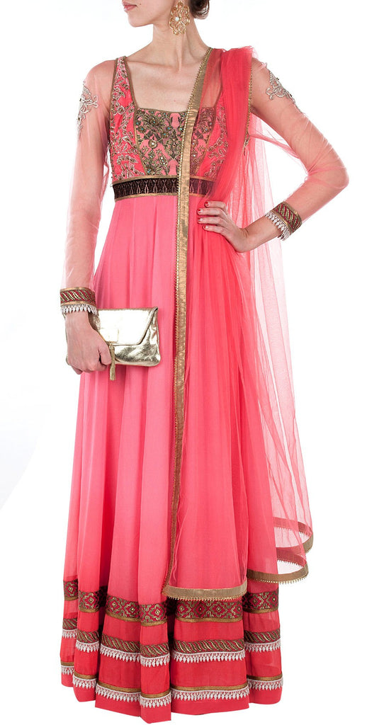 Pink color floor length anarkali salwar kameez