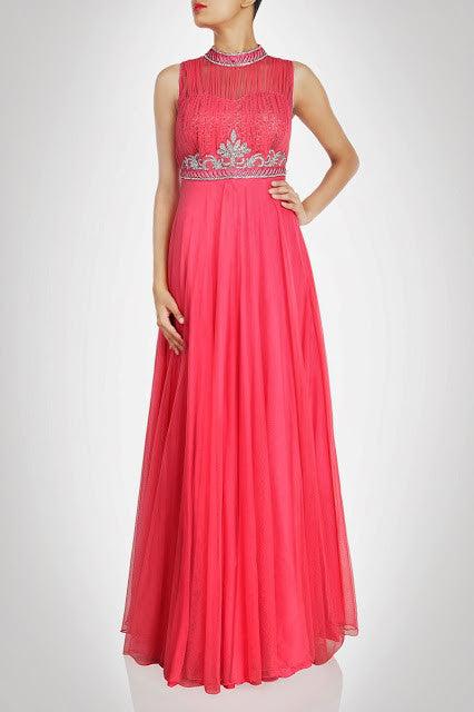 Dark Pink color Maxi Gown