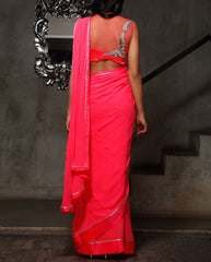 Dark pink color party wear saree