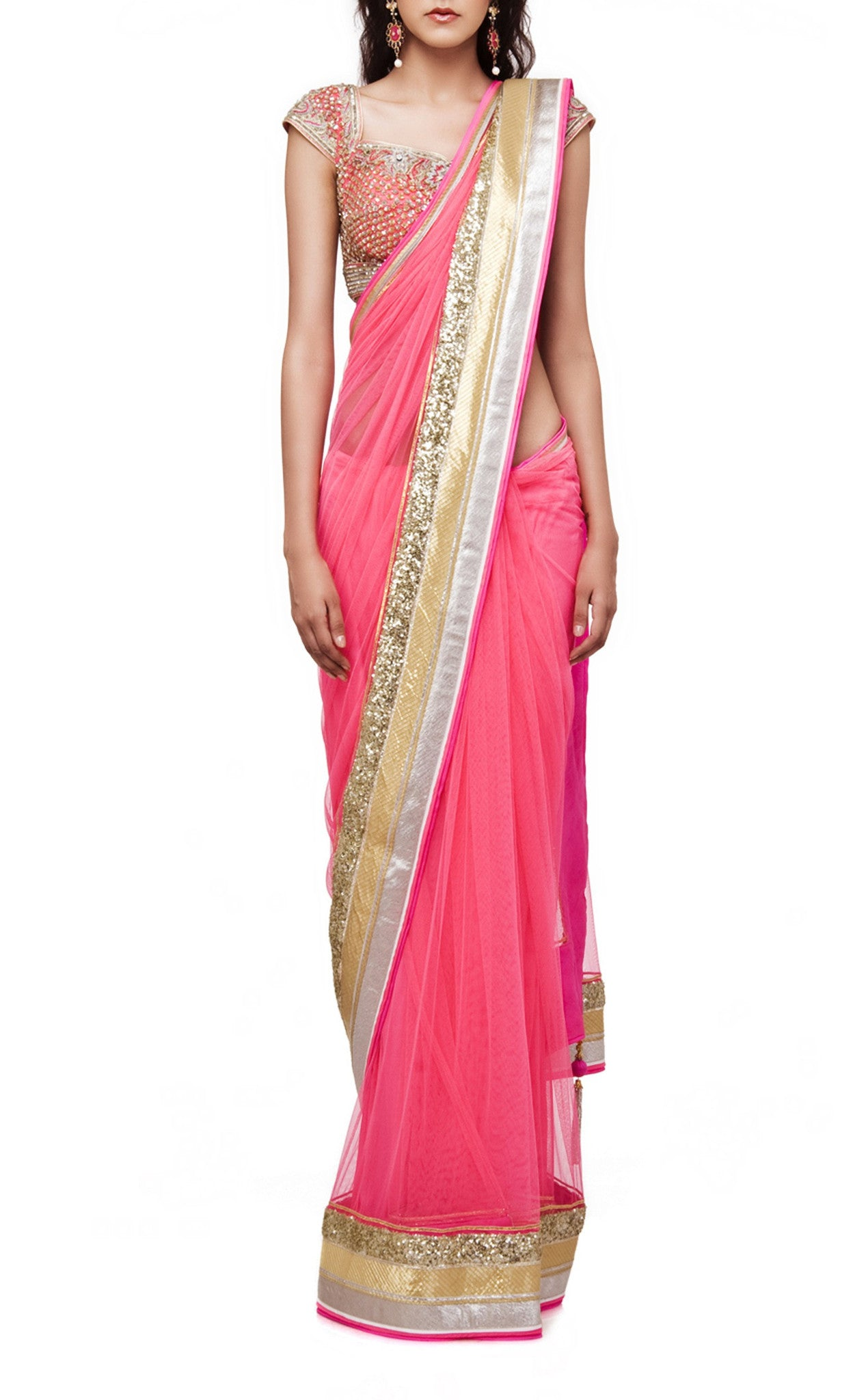 d5ffc77cd2972a Pink Saree with Embroidered Blouse – Panache Haute Couture