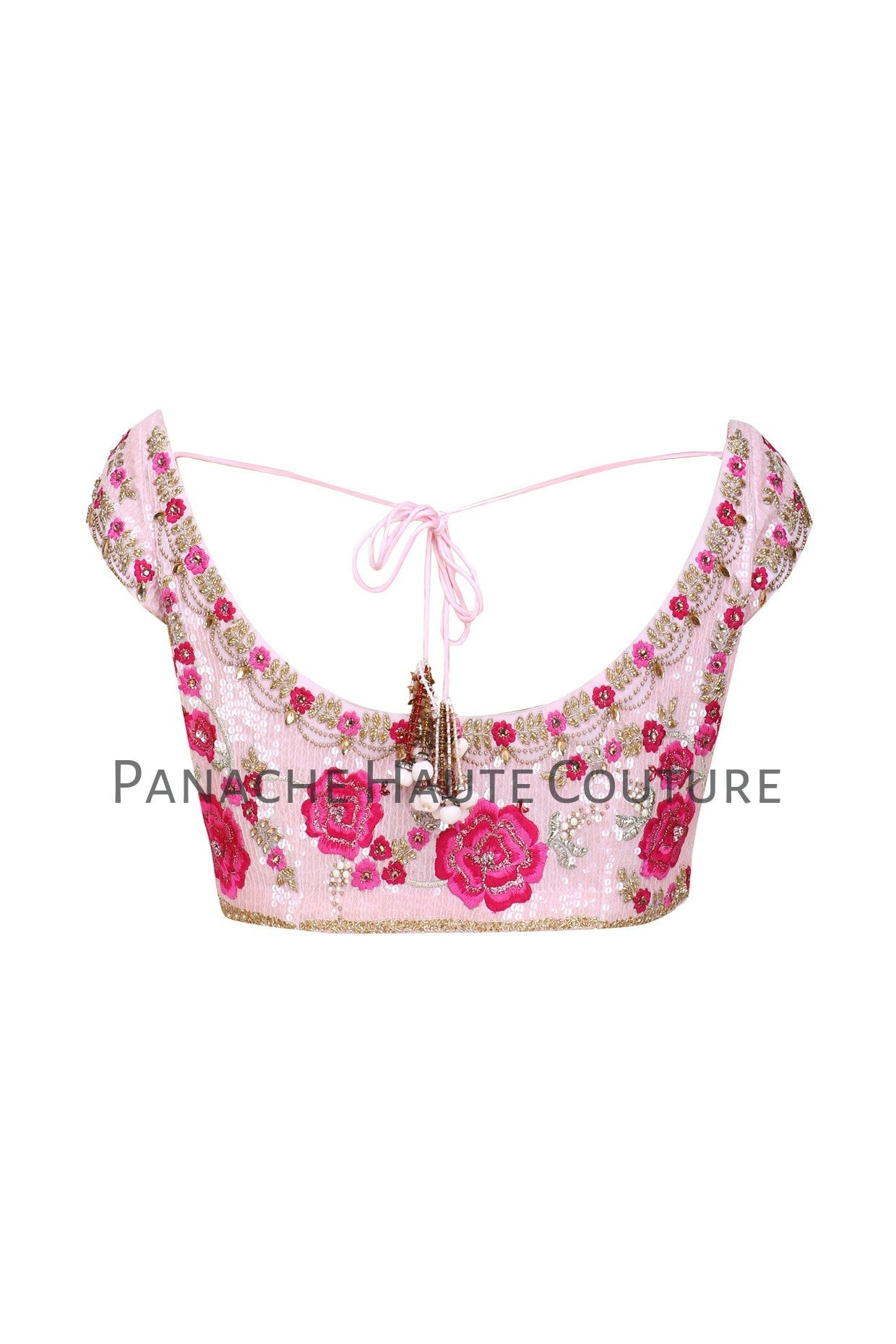 Pink Color Blouse with Sequin and Floral Embroidery