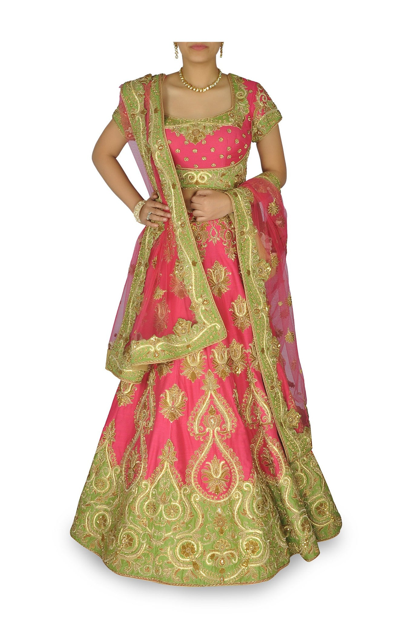 Pink color bridal lehenga
