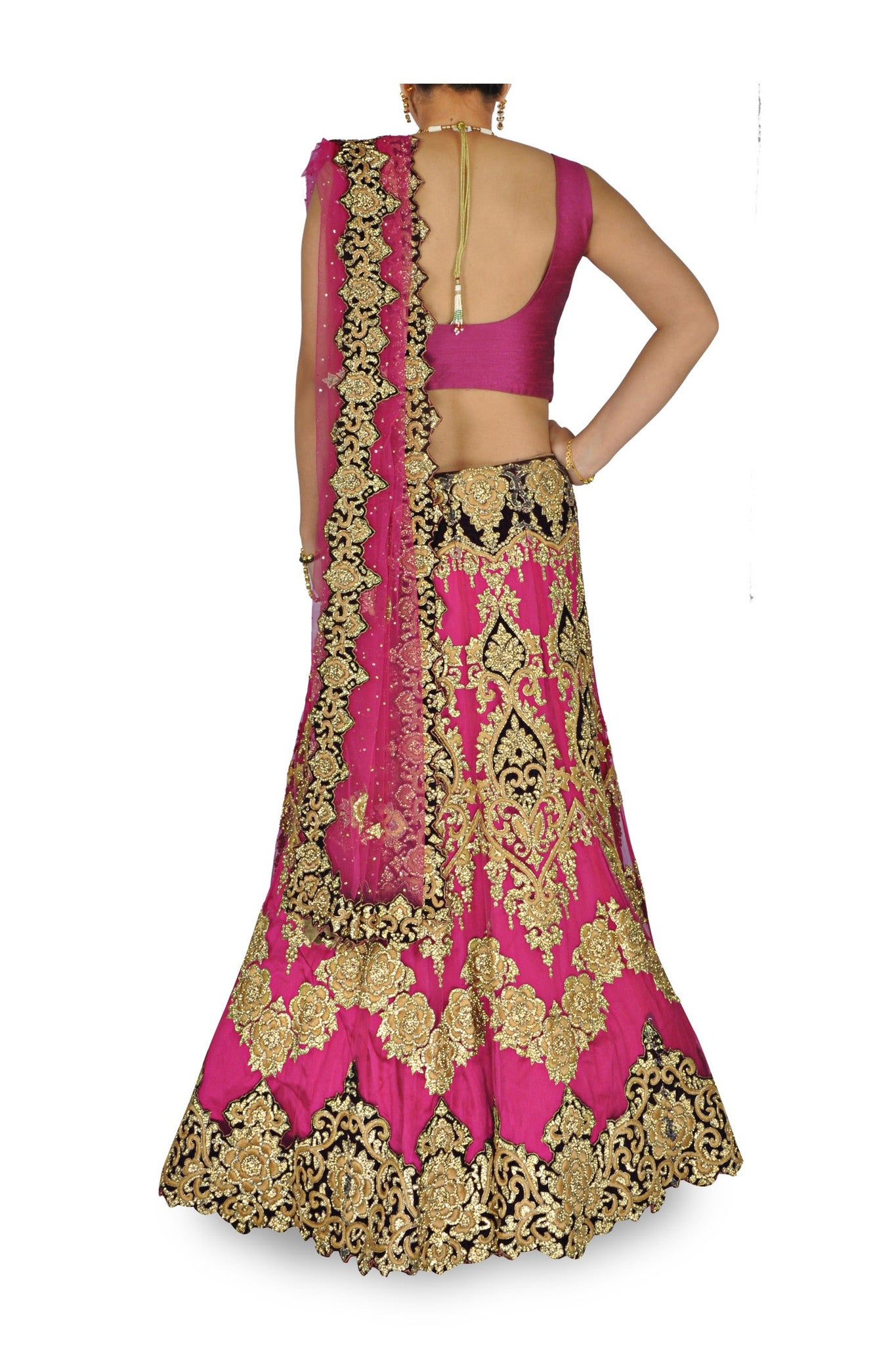 Pink color Bridal lehenga choli