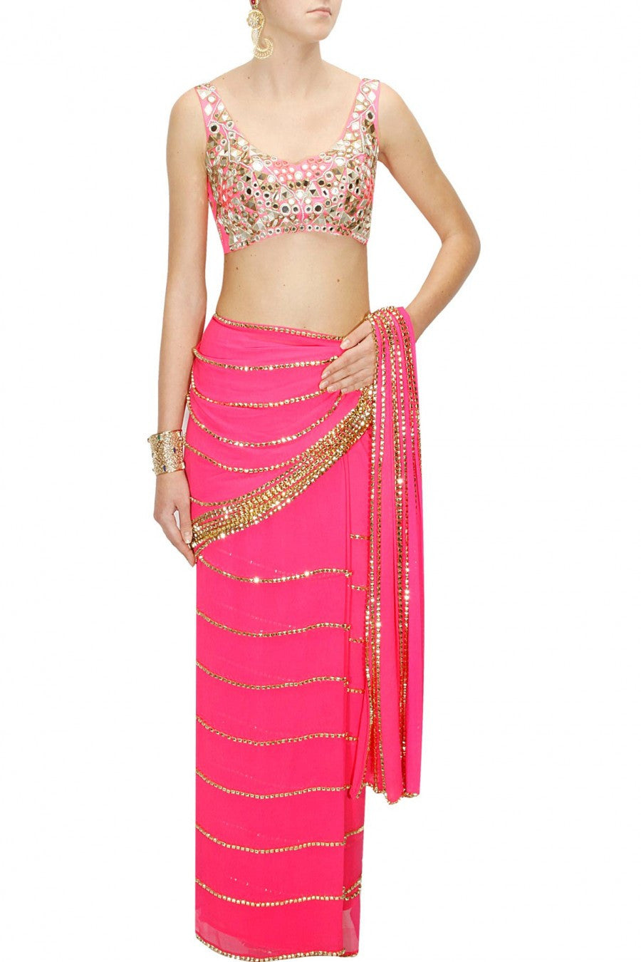 Pink colour sari at Panache Haute Couture