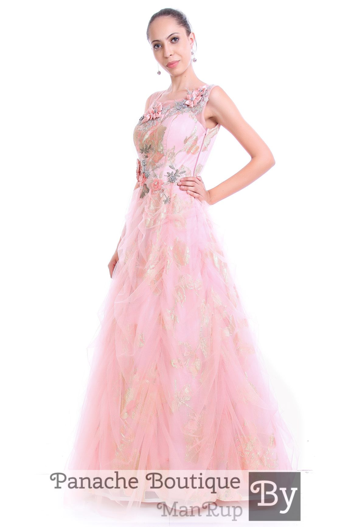Pink Colour Foil Print Indo-Western Gown