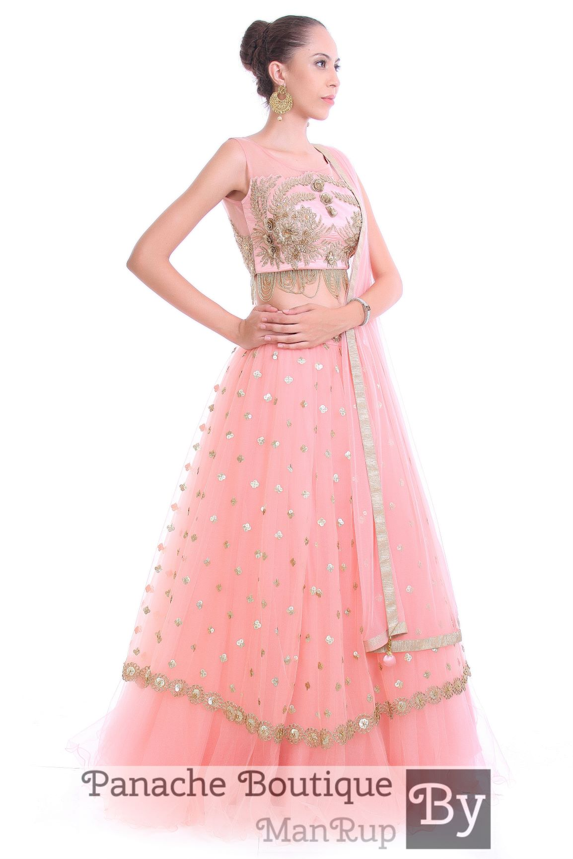3ee5b76a78 Pink Color Layered Lehenga Choli – Panache Haute Couture