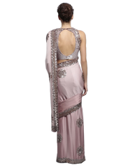 Pink designer saree in satin by Panache Haute Couture