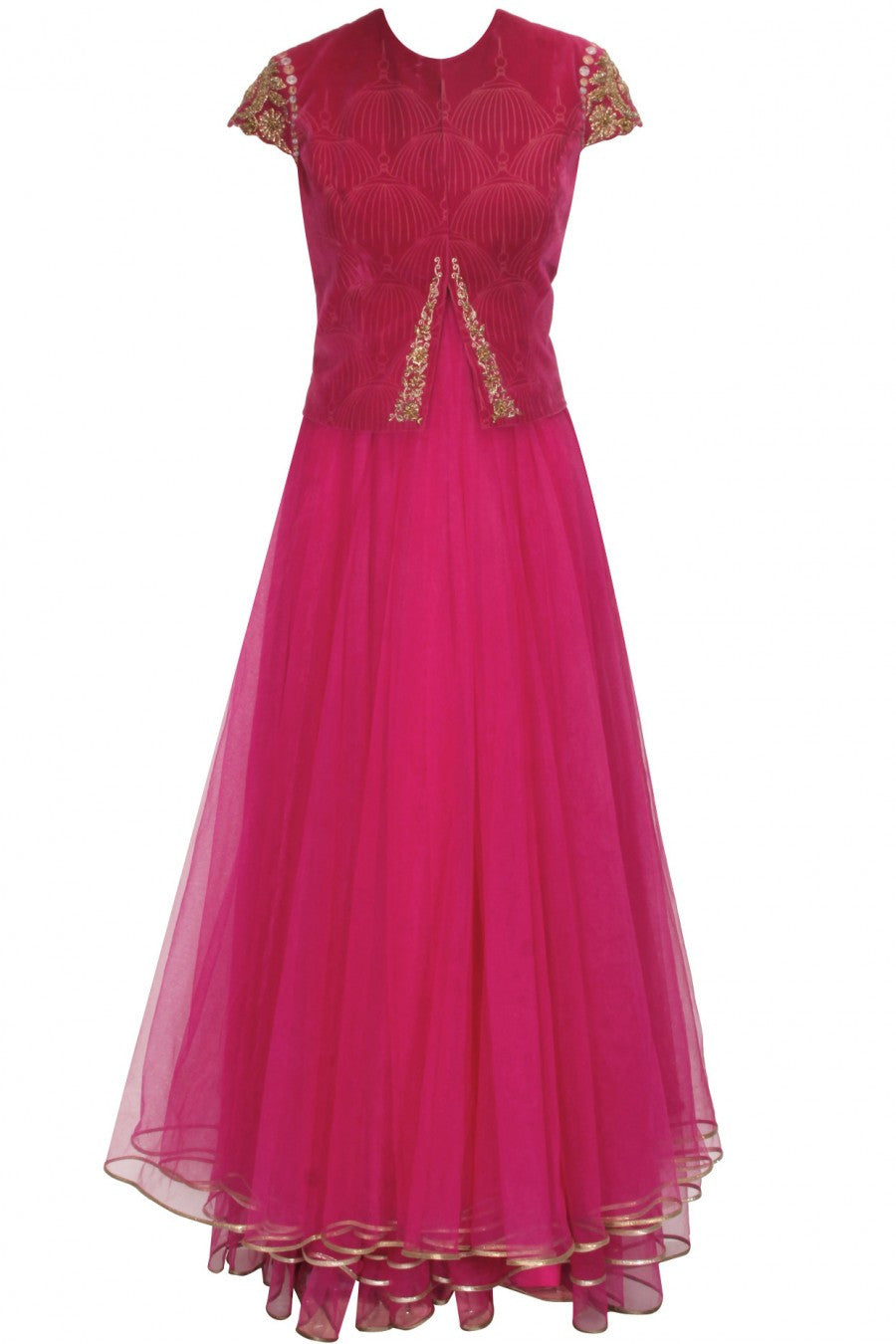 Fuchsia layered anarkali