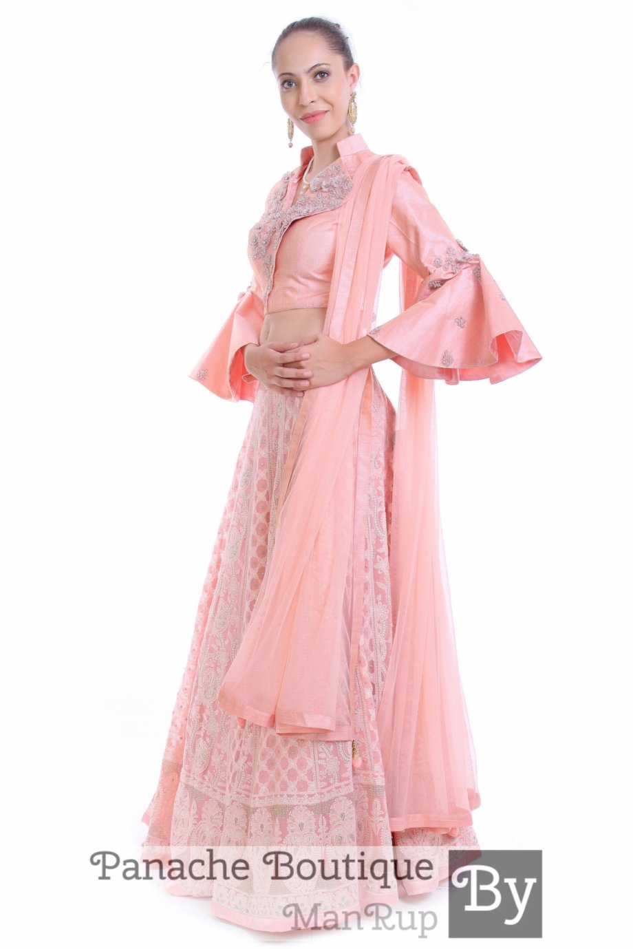 Pinkish Peach Chikankari Party Lehenga