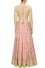 Pinkish Peach color Bridal Lehenga Choli