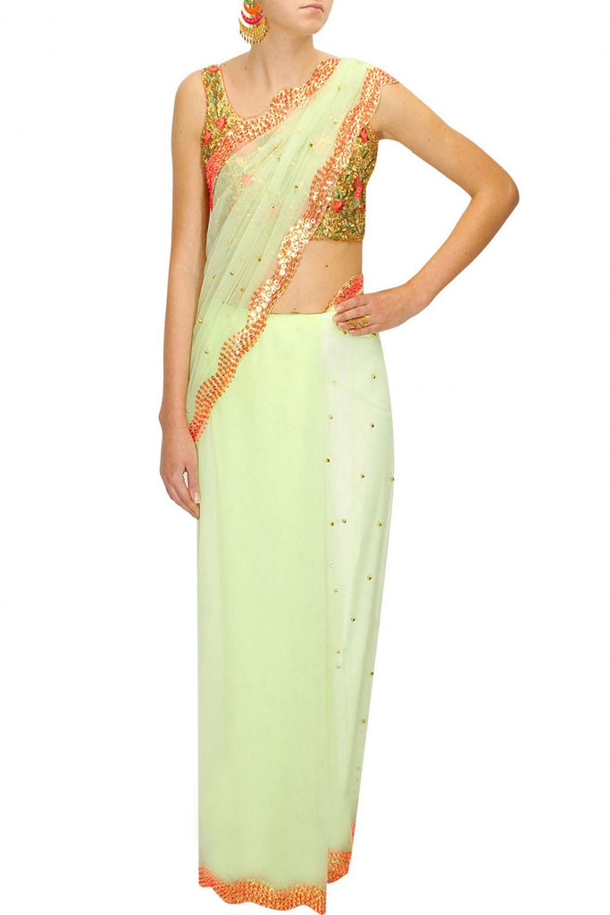 Green Sari with Embroidered Blouse