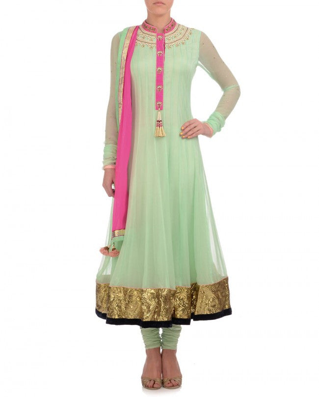 Pista Green color long anarkali suit