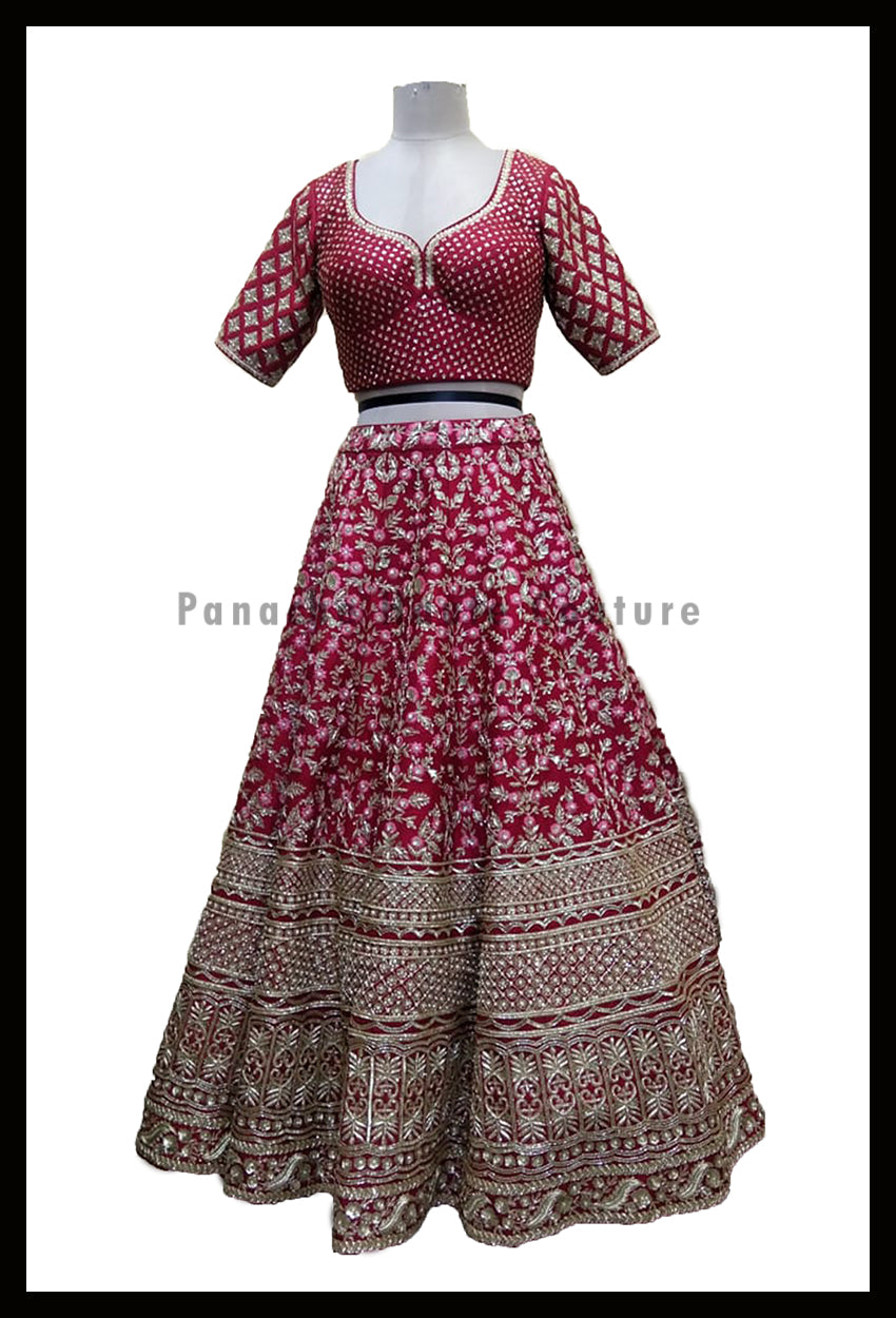 Pleasant Deep Red Color Bridal Raw Silk Lehenga