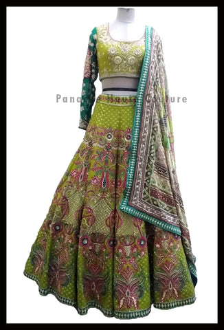 Pleasant Lemon Green Wedding Lehenga Choli