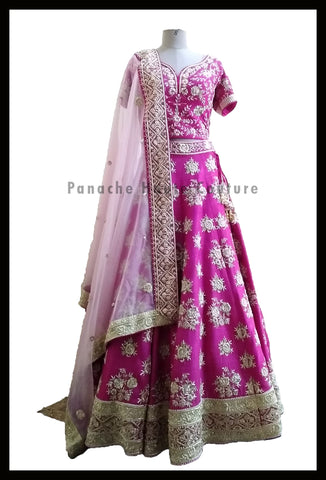 Pleasant Pink Partywear Raw Silk Lehenga Choli