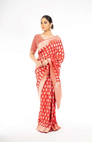 Pleasant Red Color Handloom Pure Silk Saree
