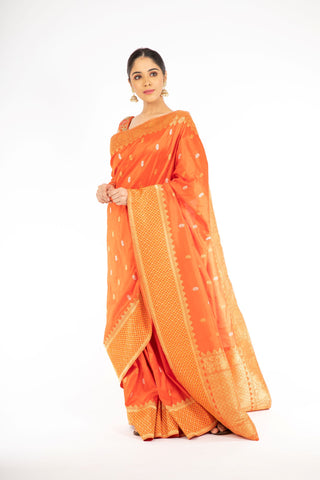 Pleasant Orange Color Banarasi Handloom Saree